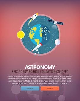 Ilustraciones del concepto de educación y ciencia. ciencia de la tierra y la estructura del planeta. astronomía conocimiento de los fenómenos atmosféricos. bandera. Vector Premium