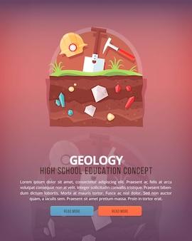 Ilustraciones del concepto de educación y ciencia. geología. ciencia de la tierra y la estructura del planeta. conocimiento de los fenómenos atmosféricos. bandera.