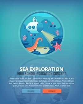 Ilustraciones del concepto de educación y ciencia. oceanografía y exploración marina. ciencia de la vida y origen de las especies. bandera.