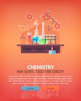 Ilustraciones del concepto de educación y ciencia. química orgánica. ciencia de la vida y origen de las especies. bandera.