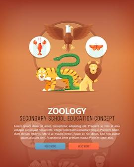 Ilustraciones del concepto de educación y ciencia. zoología, estudio de animales. ciencia de la vida y origen de las especies. bandera.