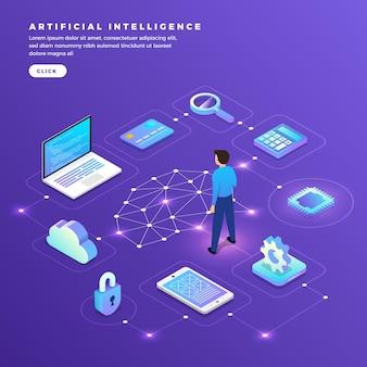 Ilustraciones concepto inteligencia artificial ai