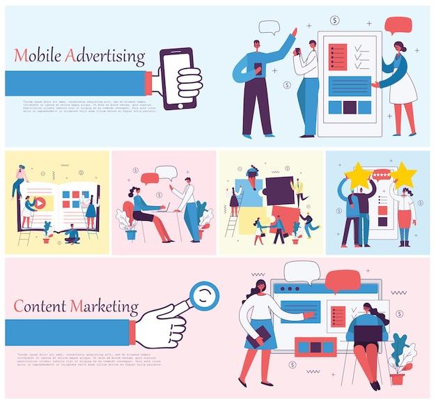 Ilustraciones del concepto de oficina gente de negocios