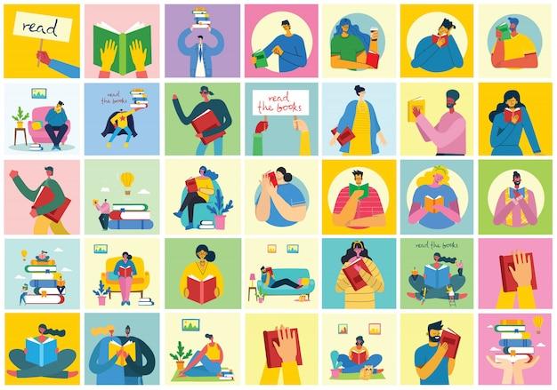 Ilustraciones conceptuales del día mundial del libro, lectura de libros y festival del libro en estilo plano. la gente se sienta, se pone de pie y camina y lee un libro en estilo plano.