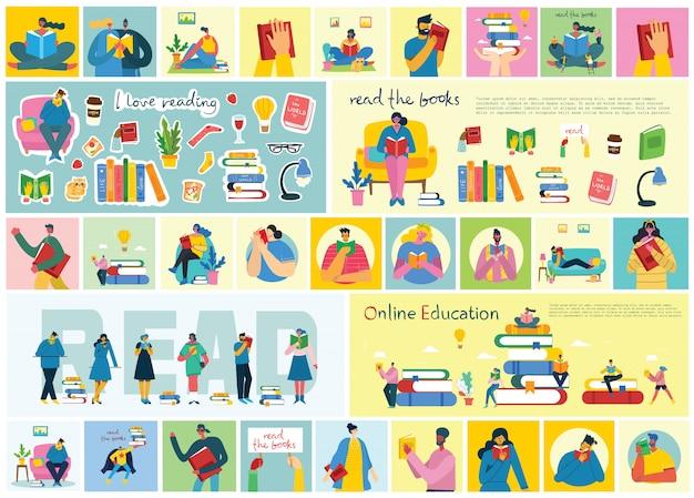 Ilustraciones conceptuales del día mundial del libro, lectura de libros y festival del libro en estilo plano. la gente se sienta, se pone de pie y camina y lee un libro.