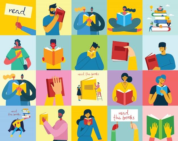 Ilustraciones conceptuales del día mundial del libro, lectura de los libros y festival del libro en el estilo plano.