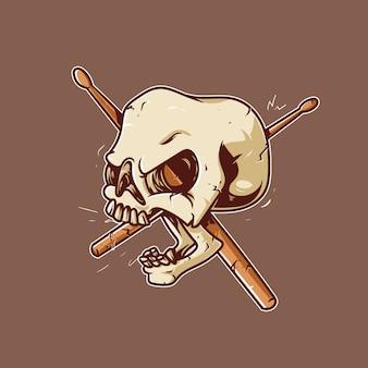 Ilustraciones del cráneo del baterista