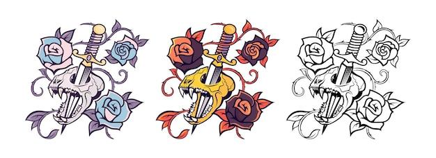 Ilustraciones de un cráneo de gatos aterrador con elementos de espada y flor