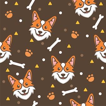 Ilustraciones de cute corgi pattern