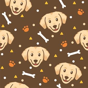 Ilustraciones de cute dog with bones pattern