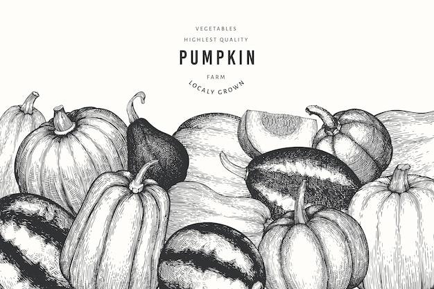 Ilustraciones dibujadas a mano de calabaza. telón de fondo de acción de gracias en estilo retro con cosecha de calabaza. fondo de otoño.