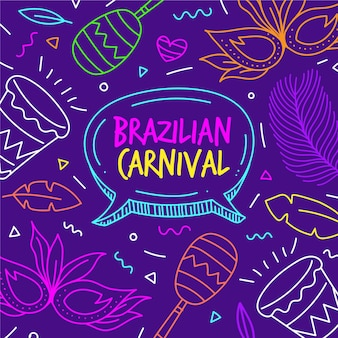 Ilustraciones dibujadas a mano carnaval brasileño