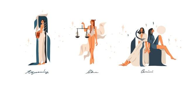 Ilustraciones dibujadas a mano con colección de signos de aire astrológicos contemporáneos del zodíaco.