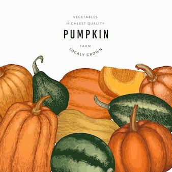 Ilustraciones dibujadas a mano de color calabaza. telón de fondo de acción de gracias en estilo retro con cosecha de calabaza. fondo de otoño.