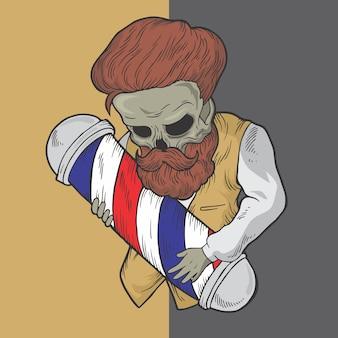Ilustraciones dibujadas mano del diseño del vector del estilo del peluquero del cráneo.