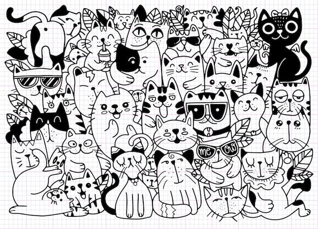 Ilustraciones dibujadas a mano de personajes de gatos. estilo de dibujo. ilustración doodle