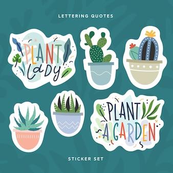 Ilustraciones dibujadas a mano de plantas de interior y frases de letras hechas como paquete de pegatinas