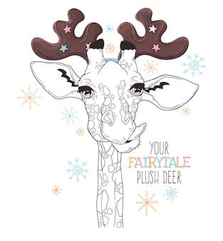 Ilustraciones dibujadas a mano. retrato de linda jirafa en astas de ciervo decorativas.