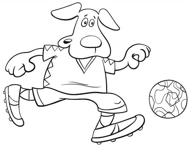 Ilustraciones de dibujos animados en blanco y negro de fútbol de perros