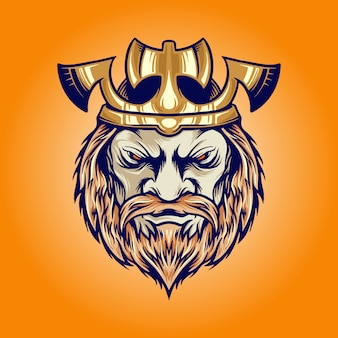 Ilustraciones de dibujos animados de cabeza de vikingo rey corona hacha