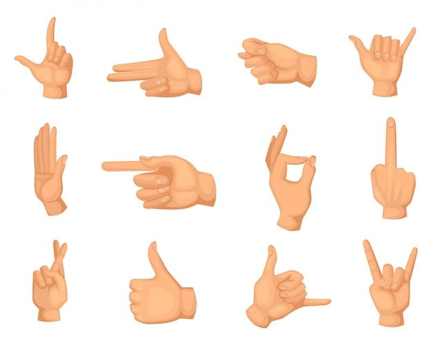 Ilustraciones de dibujos animados de gestos con las manos aisladas en blanco