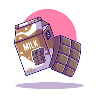 Ilustraciones de dibujos animados de leche con chocolate para el día mundial de la leche