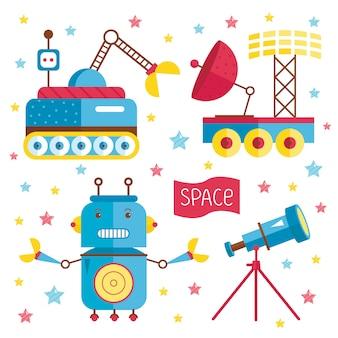 Ilustraciones de dibujos animados sobre el espacio