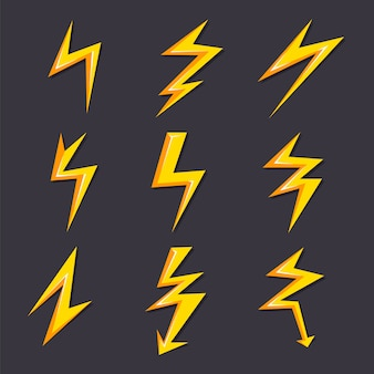 Ilustraciones de dibujos animados vector de conjunto de rayos aislados