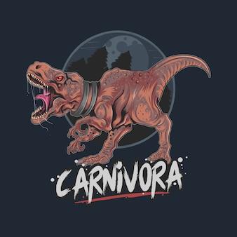 Ilustraciones de dinosaurio t rex carnivora con detalle capas de color editables