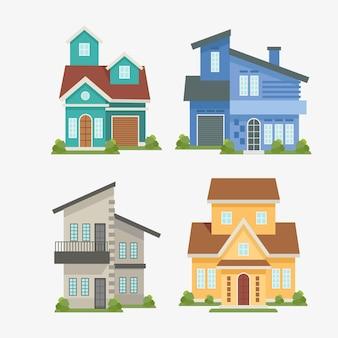 Ilustraciones de diseño plano casas