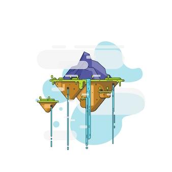 Ilustraciones de diseño plano de montaña flotante