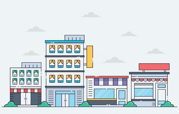 Ilustraciones de edificio en estilo de línea.