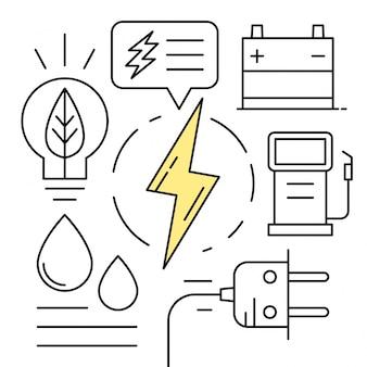 Ilustraciones de energía de estilo linear