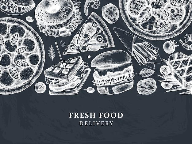 Ilustraciones de entrega de comida dibujadas a mano. fondo vintage para menú de restaurante, cafetería o camión de comida rápida. con elementos grabados: hamburguesa, bistec, papas fritas, bocetos de pizza.