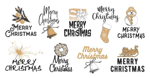 Ilustraciones de estilo grabado con tipografía. conjunto de croquis dibujados a mano navidad