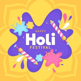 Ilustraciones de flat holi festival