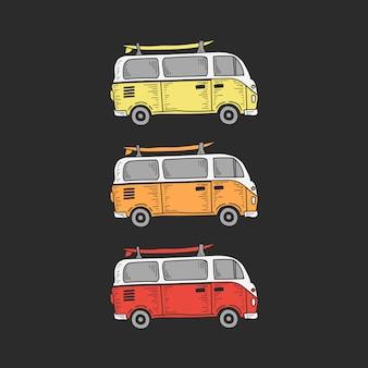 Ilustraciones de furgonetas vintage
