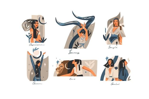 Ilustraciones gráficas abstractas de stock de vectores dibujados a mano con conjunto de colección de signos astrológicos contemporáneos del zodiaco, personajes femeninos mágicos de belleza, diseño de boho de imágenes prediseñadas aislado sobre fondo blanco.