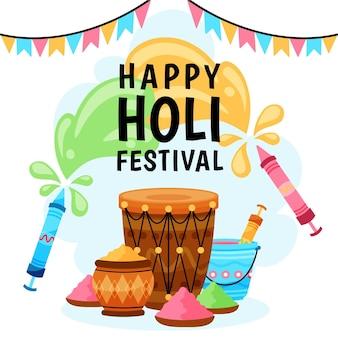 Ilustraciones de holi festival hand drawn