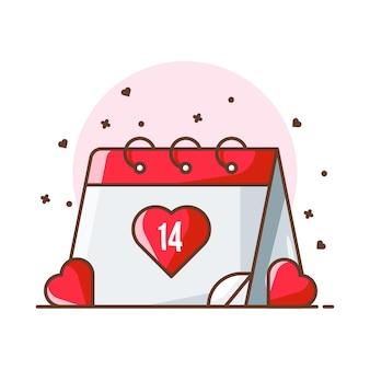 Ilustraciones del icono del calendario de san valentín. concepto de icono de san valentín blanco aislado.