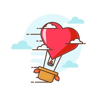 Ilustraciones de icono de globo de aire caliente de san valentín. concepto de icono de san valentín blanco aislado.