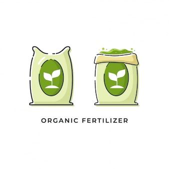 Ilustraciones de iconos de fertilizantes orgánicos