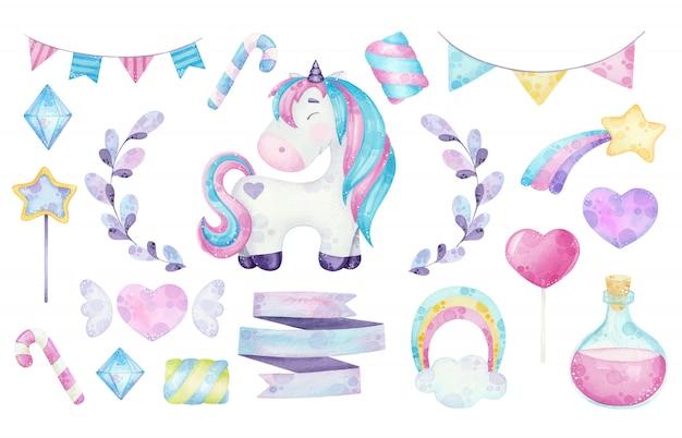 Ilustraciones de imágenes prediseñadas de unicornio lindo acuarela con elementos mágicos