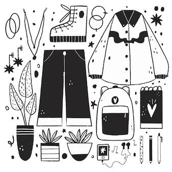 Ilustraciones incoloras en diseño plano