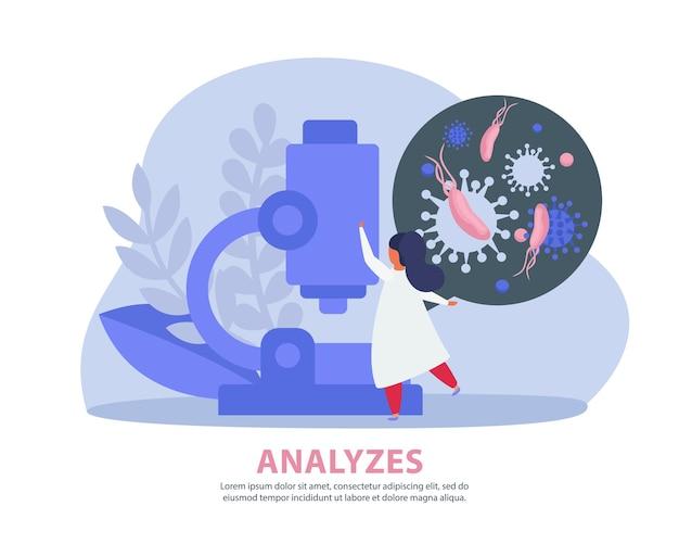 Ilustraciones de inspección pulmonar con especialistas que realizan análisis de laboratorio.