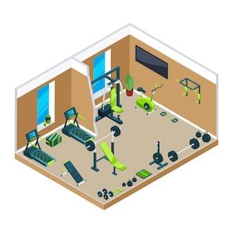 Ilustraciones isométricas en 3d del gimnasio.