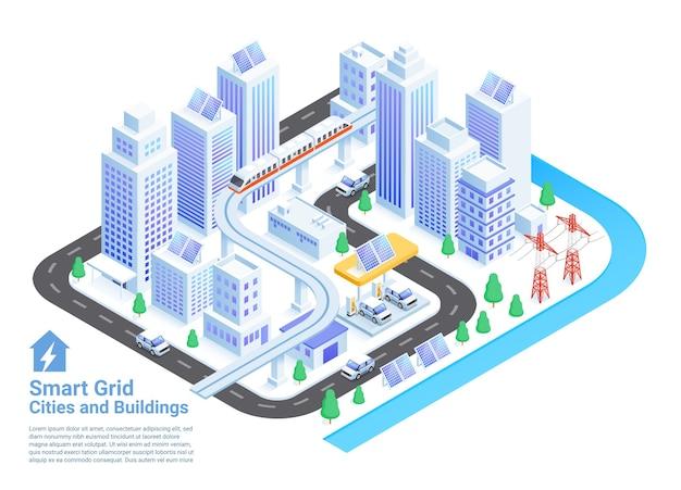 Ilustraciones isométricas de ciudades y edificios de redes inteligentes.