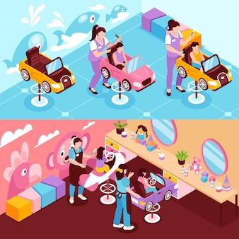 Ilustraciones isométricas horizontales con salón de belleza infantil.