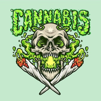 Ilustraciones de joint smoking skull cannabis joint