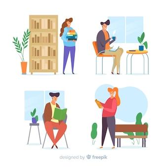 Ilustraciones de jóvenes leyendo set